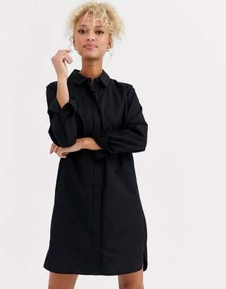 Asos Design DESIGN cotton mini shirt dress-Black