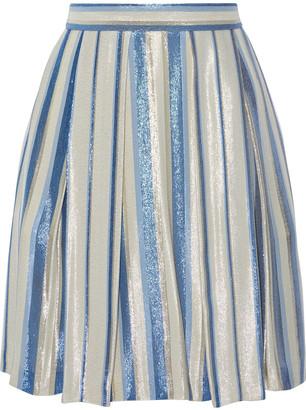 Alberta Ferretti Pleated Striped Silk-blend Lame Mini Skirt