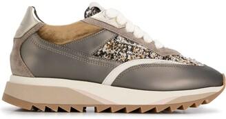 Santoni Boucle Tweed Inlay Sneakers