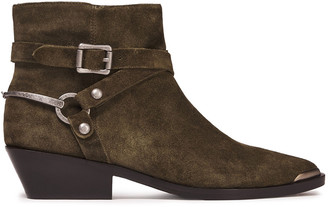 Sigerson Morrison Jade Buckled Suede Ankle Boots