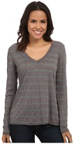 Michael Stars Silver Lake Stripe Long Sleeve Vee Neck