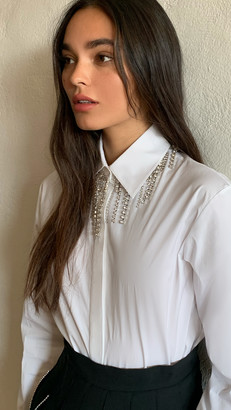 Area Crystal Fringe Collar Blouse