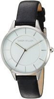 Karen Millen Women's Quartz Brass-Plated-Stainless-Steel and Leather Dress Watch, Color:Black (Model: KM133BA)