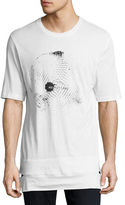 Helmut Lang Disco Ball Logo Cut-Hem T-Shirt