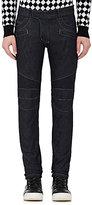 Balmain Men's Cotton-Blend Biker Jeans-BLUE