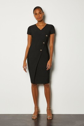 Karen Millen Cap Sleeve Military Button Knitted Dress
