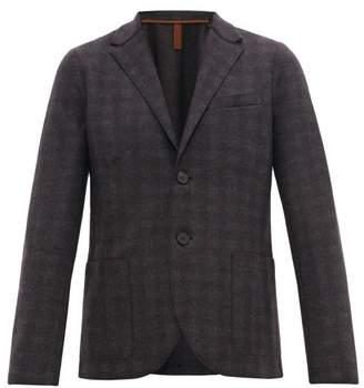 Harris Wharf London Check Two Button Wool Flannel Blazer - Mens - Brown Multi