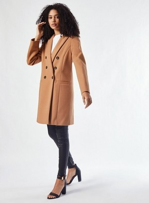 Dorothy Perkins Womens Camel Double Breasted Coat