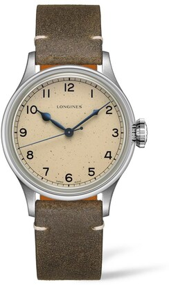 Longines Heritage Military Leather Strap Watch, 38.5mm