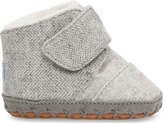 Toms Grey Wool Herringbone Tiny Cuna Crib Shoes