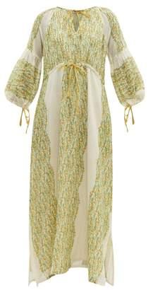 D'Ascoli Meadow Floral-print Cotton Maxi Dress - Womens - Yellow