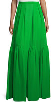 DELPOZO Pleated Tiered Silk Maxi Skirt, Meadow Green