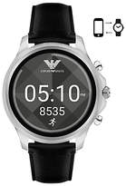 Emporio Armani Connected ART5003 Men's Leather Strap Touchscreen Smartwatch, Black