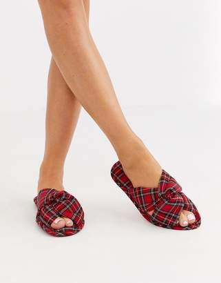 Asos Design DESIGN Zante knot slider slippers in tartan check
