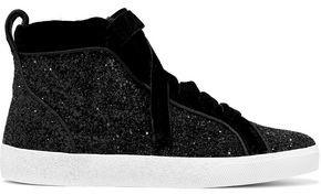 Alice + Olivia Camil Velvet-trimmed Glittered Woven High-top Sneakers