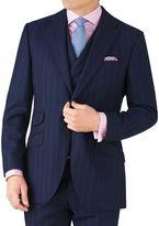 Charles Tyrwhitt Navy Stripe Slim Fit British Serge Luxury Suit Wool Jacket Size 40