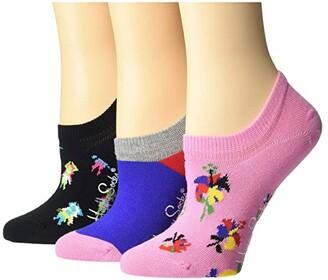 Happy Socks 3-Pack Hibiscus Sneaker Liner Socks (Medium Pink) Women's Crew Cut Socks Shoes