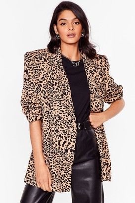 Nasty Gal Womens Play the Wild Card Leopard Puff Sleeve Blazer - Brown