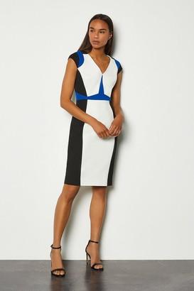 Karen Millen Colour Block Cap Sleeve Shift Dress