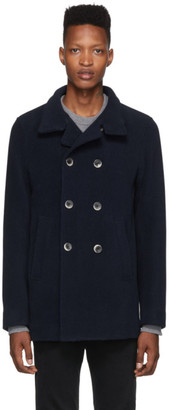 Herno Navy Thick Wool Double-Breasted Peacoat
