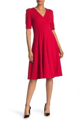 Donna Morgan V-Neck Stretch Crepe Dress