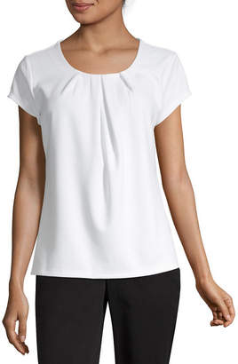 Liz Claiborne Texture Tee Womens Crew Neck Short Sleeve Knit Blouse