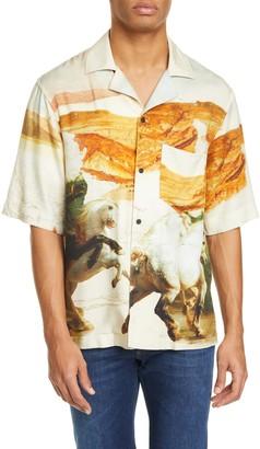 Acne Studios Simon Fluid Horse Short Sleeve Button-Up Shirt