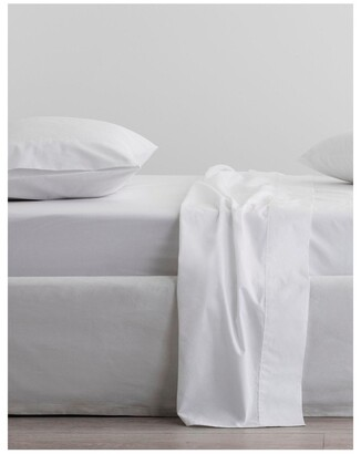 Sheridan Organic Cotton Percale 300TC Fitted Sheet in Snow White Queen Fitted Sheet