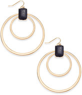 Thalia Sodi Gold-Tone Jet Faux-Leather Double Hoop Earrings, Only at Macy's