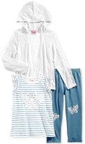 Nannette 3-Pc. Butterfly Hoodie, T-Shirt & Leggings Set, Toddler & Little Girls (2T-6X)