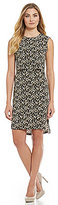 Jones New York Hi-Lo Hem Layered Bodice Sheath Dress