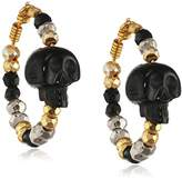Jade Jagger Ibiza Large Hoop Earrings with Carved Black Onyx Skull Black Spinel, Silver and Gold Plated Beads