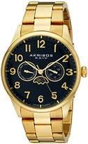 Akribos XXIV Men's AK790YGBU Multifunction Swiss Quartz Movement Watch with Blue Dial and Yellow Gold Stainless Steel Bracelet