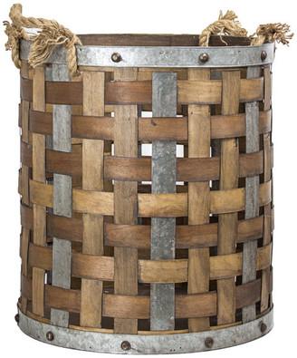 American Art Decor Bamboo/Metal Storage Basket, Large