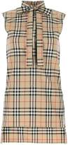 Burberry Checked Bow Detail Blouse