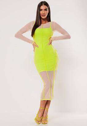 Missguided Sxf X Nude Contrast Seam Mesh Midaxi Dress