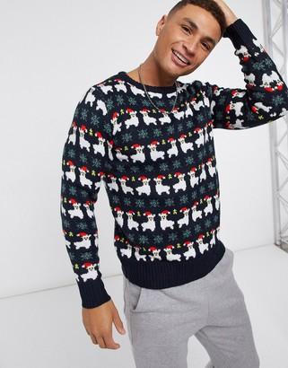 Another Influence llama fairisle Christmas sweater