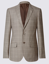 M&S Collection Wool Rich Checked Regular Fit Jacket