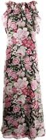 P.A.R.O.S.H. ruffle-neck floral-print maxi dress