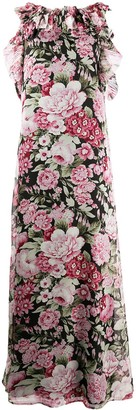 P.A.R.O.S.H. ruffle-neck floral-print maxi dress