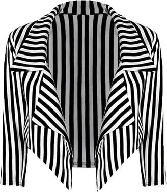 66 Fashion District Womens Black /& White Striped Waterfall Short Blazer Jacket Coat