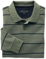 Charles Tyrwhitt Green and Navy Stripe Pique Long Sleeve Cotton Polo Size XS