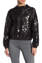 Material Girl Leopard Print Lace-Up Windbreaker Hoodie