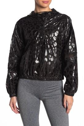 Material Girl Leopard Print Lace-Up Windbreaker Hoodie