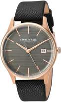Kenneth Cole New York Women's 'Classic' Quartz Stainless Steel and Leather Dress Watch, Color:Black (Model: KC15109001)