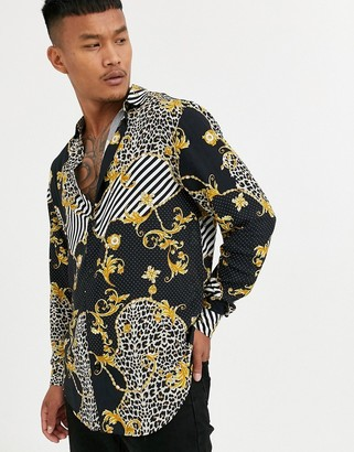 SikSilk long sleeve shirt in black and gold animal print