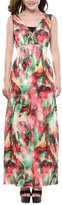BY&M Women's Plus Size Shivering Floral Sleeveless A-Line Dress