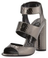 Tom Ford Rivet Snakeskin 105mm Sandal, Gray