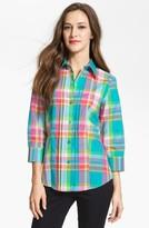 Three Quarter Sleeve Plaid Shirt