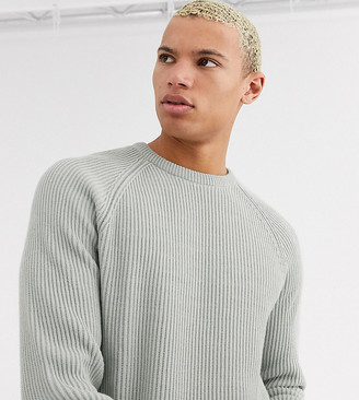 ASOS DESIGN Tall ribbed sweater with raglan sleeve in light gray